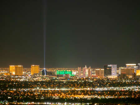 Night high angle view of the famous Las Vegas strap and cityscape at Nevada, USA