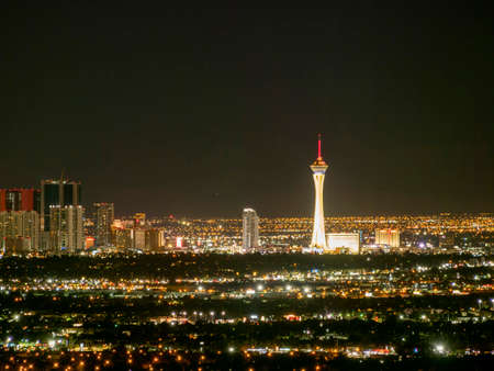 Night high angle view of the famous Las Vegas cityscape at Nevada, USA