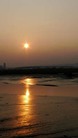 Sunset landscape of the Taipei bridge area at Taipei, Taiwan