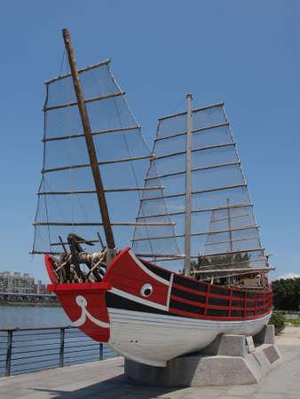 Historical ship display in Dadaocheng area at Taipei, Taiwan