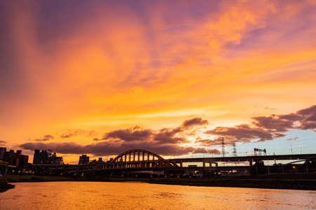 Sunset view of the beautiful First MacArthur Bridge at Taipei, Taiwan Stock Photo