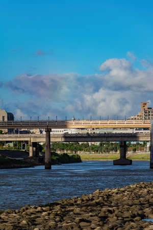 Afternoon view of the ChengMei Bridge at Taipei, Taiwan