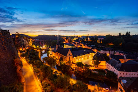 The historical beautiful and superb view of the Grund, Luxembourg Stock Photo
