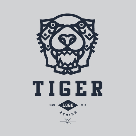 Tiger icon vector illustration on gray background.
