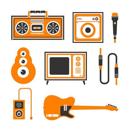 Music icons set graphic elements 向量圖像