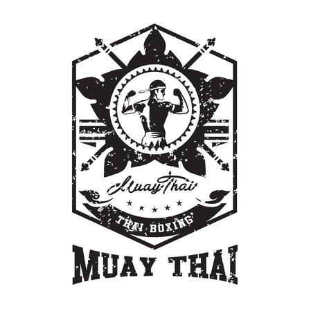 Muay thai club Vintage emblem, logo, sign, vector illustration
