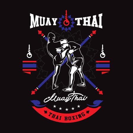 Muay thai club Vintage emblem, sign, vector illustration.