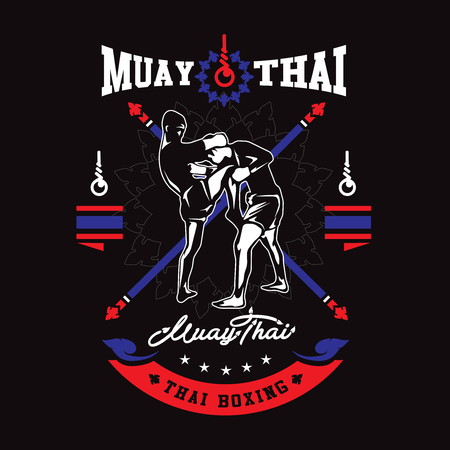 Muay thai club Vintage emblem, sign, vector illustration.