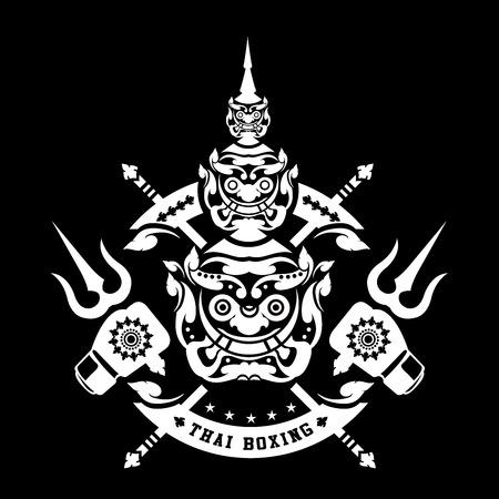 thai boxing club Vintage emblem, logo, sign, vector illustration