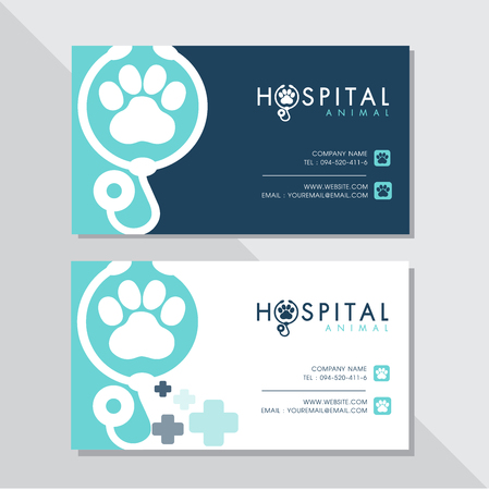 Business card vector design and Animal hospital logo