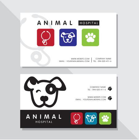 Business card vector design and Animal hospital logo