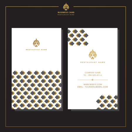 Set of vector thai card templates with floral elements for business cards, invitations, postcards. Vector illustration. Illustration