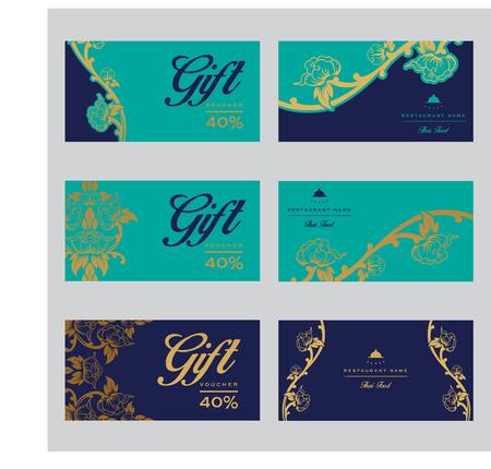 Conjunto de plantillas de tarjeta de vector tailandés con elementos florales para tarjetas de visita, invitaciones, postales. Ilustración vectorial Ilustración de vector