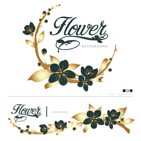 flowers with leaves on branches, vector illustration on white background.