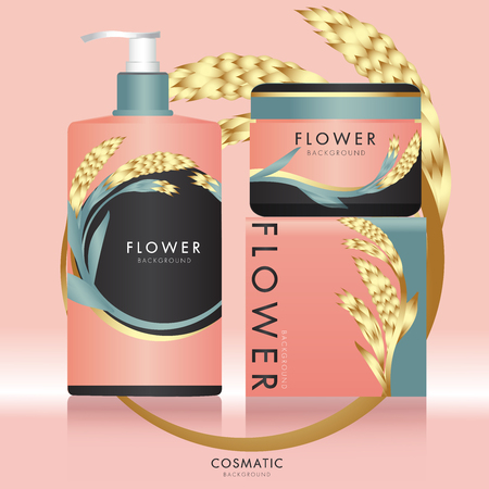 Packaging cosmetic with floral design.