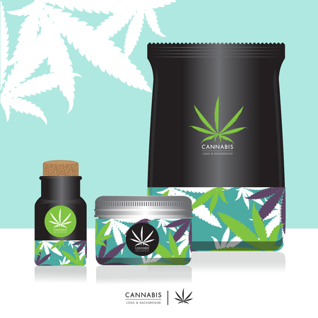 Cannabis marijuana Packaging product label and icon graphic template Çizim