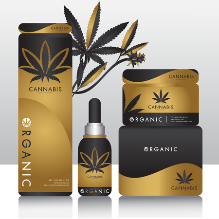 Cannabis marijuana Packaging product label and icon graphic template Vettoriali