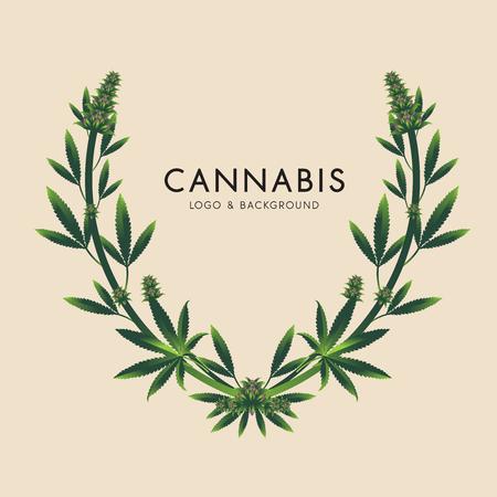 Marijuana, illustration graphique d'icône de cannabis.