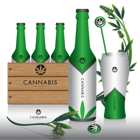 Cannabis marijuana Packaging product label and logo graphic template