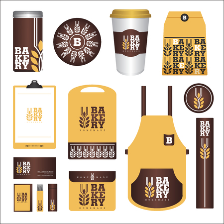 Bakery Branding Mock up and packaging design Vettoriali