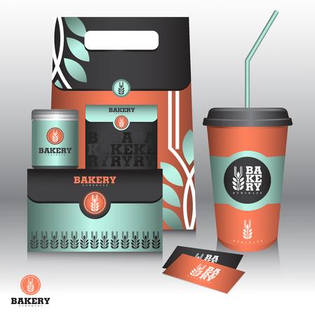 Bakery Branding Mock up and packaging design 矢量图像