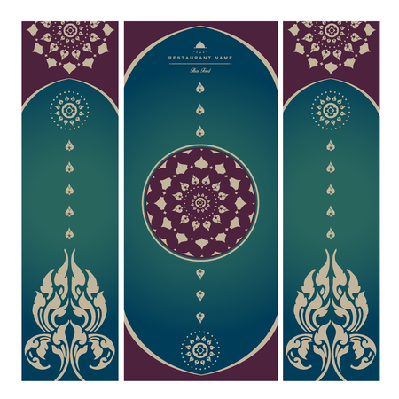 Set of vector thai card templates with floral elements for business cards, invitations, postcards. Vector illustration. Vettoriali