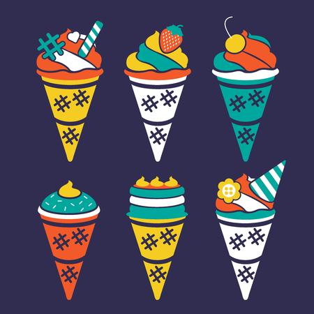 Vector icecream cone illustration design