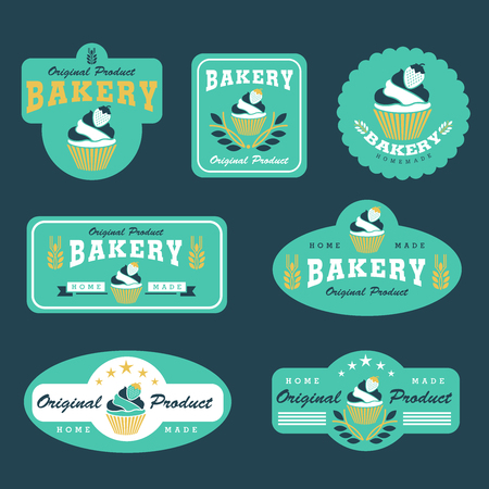 cupcake and bakery logo vector illustration design