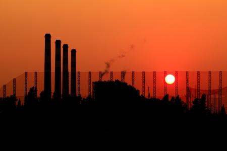 Powerhouse plants sunset background,Thailand