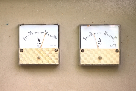Shooting close view of analog electric meter dial