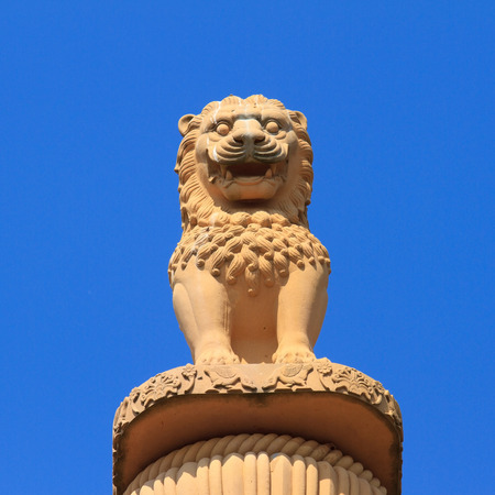 Lion statue stands on the pillars  photo