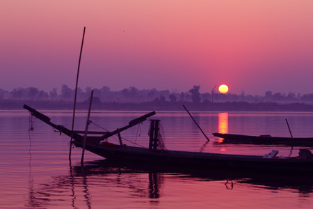 Mekong River at sunrise in Thailand Stock Photo