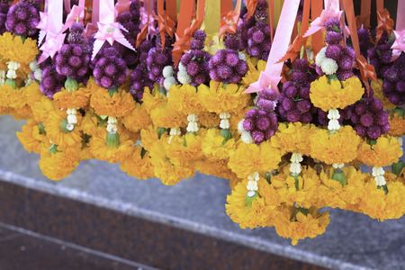 klong: Marigold garlands in flower market in Thailand Stock Photo