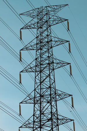 High-voltage tower sky . Stock Photo