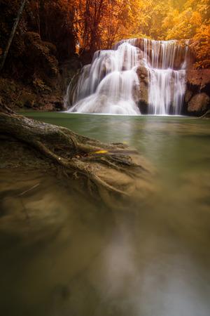 Beautiful waterfall in autumn forest,  Kanchanaburi province, Thailand