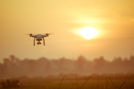 Drone on the sunset.