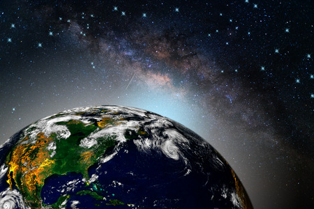 Milky way galaxy with stars and space dust in the universe, Long exposure photograph, with grain. in Thailand,View of earth from space. Stock Photo
