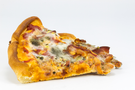 Moldy Pizza on white background.