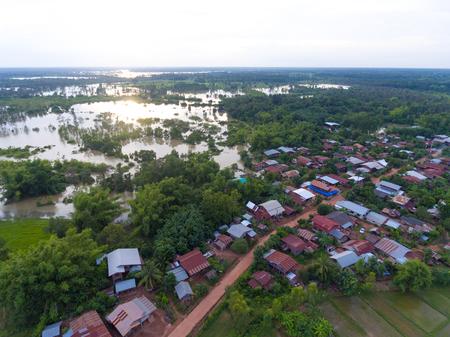 Sakon Nakhon, Thailand - August 3, 2017: Water flood at Sakon Nakhon, Thailand Stok Fotoğraf - 123170880