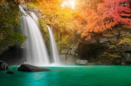 Hermosa cascada en el bosque de otoño, Tailandia