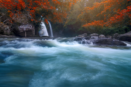 Beautiful waterfall in autumn forest, at Thailand 스톡 콘텐츠