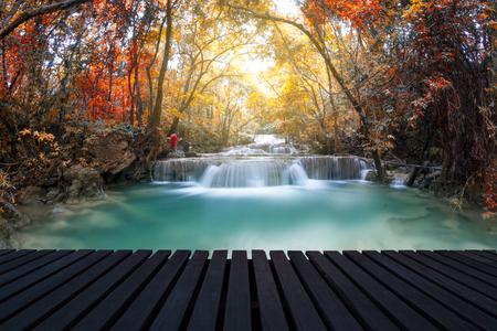 Waterfall in Kanchanaburi, Thailand 스톡 콘텐츠