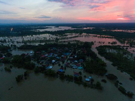 Water flood at Sakon Nakhon, Thailand Stok Fotoğraf - 123294245