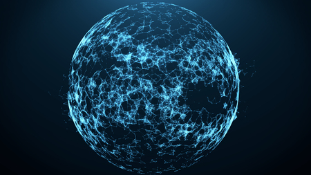 Connection lines Earth Globe with plexus connected lines Technology connections concept. 3D Illustration 스톡 콘텐츠 - 123294534