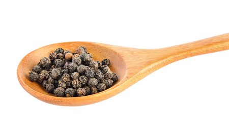 peppercorn: peppercorn in wood spoon on white background Stock Photo