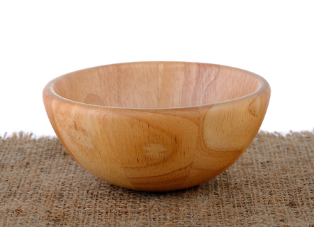 sackcloth: wood bowl on sackcloth Stock Photo