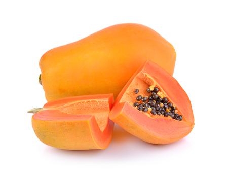 ripe papayas on white background Stock Photo
