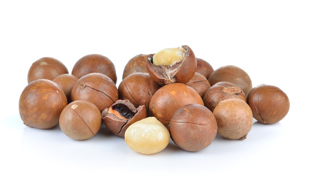 nutshells: macadamia nuts on white background