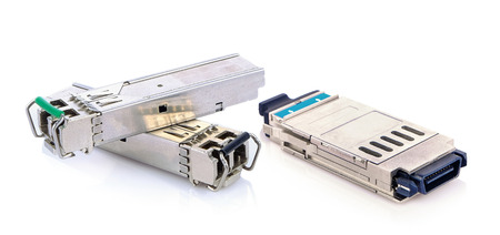 Optical gigabit sfp modules for network switch on whie background