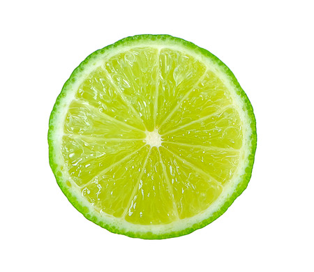 Juicy slice of lime isolated on white Archivio Fotografico